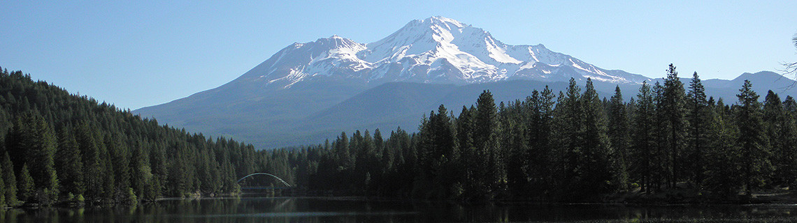 Mount Shasta as seen from Lake Siskiyou, California