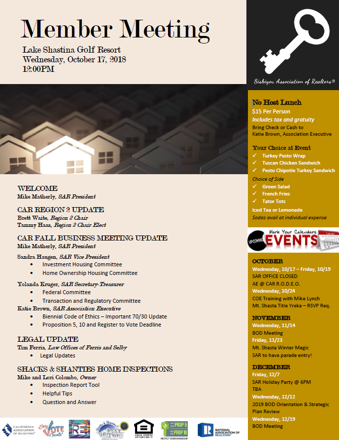Events & Meetings – Siskiyou Association of Realtors®